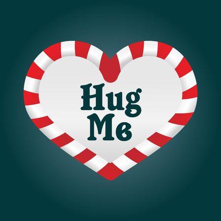 Un divertente Natale bastoncino di zucchero a forma di cuore. Come � intorno al tema dell'amore, ho aggiunto le parole 'Hug Me'