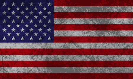 American Flag with grunge texture effect  Vector