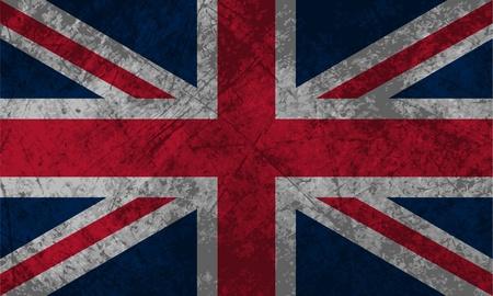 bandiera gran bretagna: Bandiera britannica con un effetto texture grunge Vettoriali