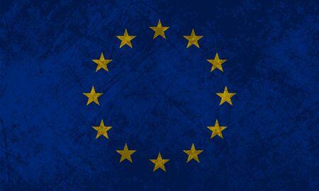 Bandiera europea con un effetto grunge texture