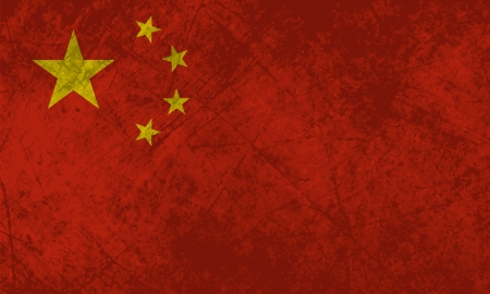 Chinese flag with a grunge texture effect  Illustration