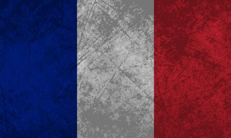 French flag with a grunge texture effect