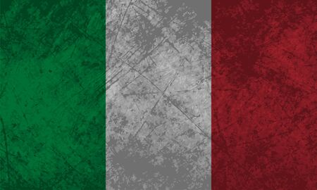 Italian flag with a grunge texture effect