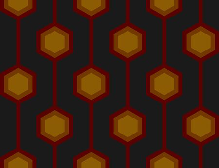 Seamless tile with a retro hexagon repeat pattern in red. Illustration