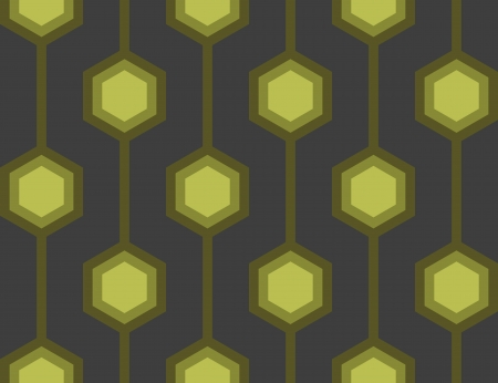 Seamless tile with a retro hexagon pattern in green.