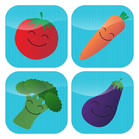 A set of four icons with cartoon smiling vegetables - tomato, carrot, broccoli and aubergineeggplant