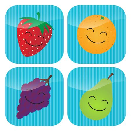 A set of four icons with cartoon smiling fruit - strawberry, orange, grapes and pear.