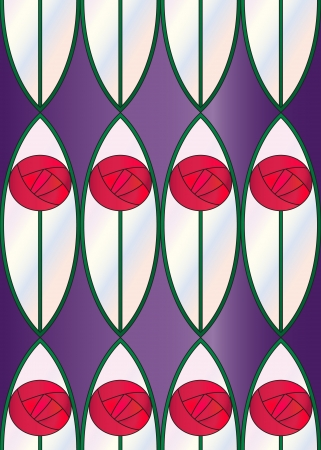 A seamless tile with a repeat sytlised rose design, inspired by Charles Rennie Mackintosh. Vector