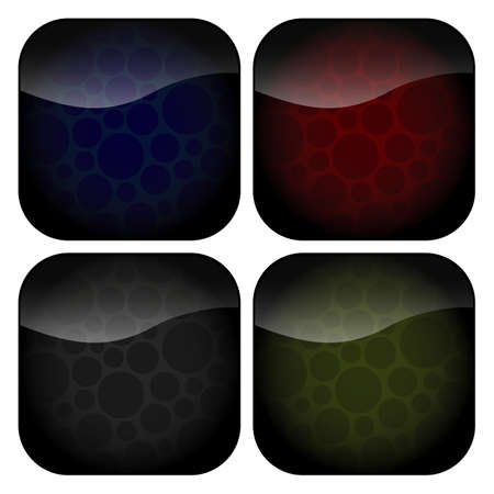 A set of blank rounded square icons with spotty backgrounds in muted hues of grey, green, red and blue.