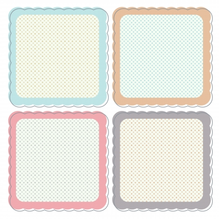 A set of cute retro icons or frames in pastel colours. These can be used as icons, stickers, labels etc