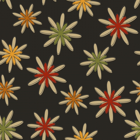 Seamless background with a retro flower pattern in dark colours. Illustration