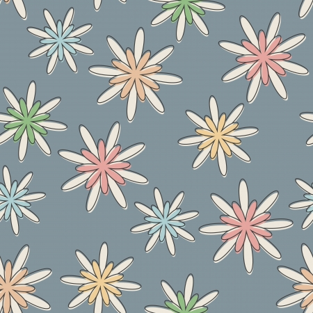Seamless background with a retro flower pattern in pastel colours. Illustration