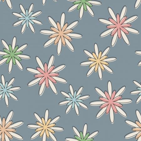 Seamless sfondo con un modello di fiore retr� in colori pastello. Vettoriali