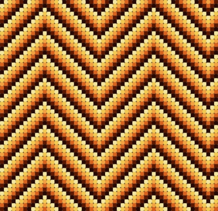 A seamless 60s retro zigzag pattern in warm colours, which is made of a mosaic of rounded squares. Perfect for repeat tiling or a stand alone wallpaper. Illustration