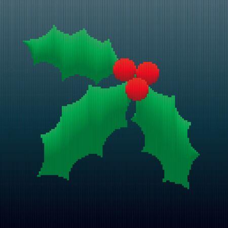 Un design di Natale agrifoglio realizzato interamente di strisce in gradienti di colore dando un 8-bit sguardo all'immagine.