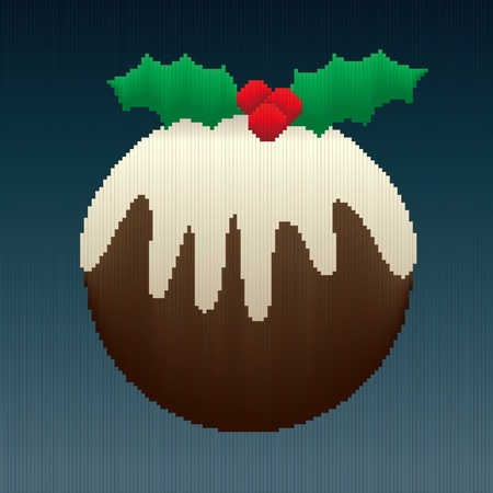 A Christmas pudding design made entirely of stripes in coloured gradients giving an 8-bit look to the image.