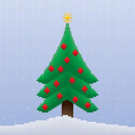 8bit: Un design albero di Natale fatto interamente di strisce nelle sfumature colorate che danno un 8-bit sguardo all'immagine.