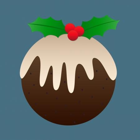 plum pudding: Plum pudding di Natale di design - ideale come una piastrella sfondo, o l'icona!