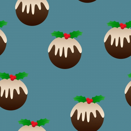 Christmas plum pudding designs as a perfectly seamless tile - ideal for backgrounds, wrapping paper and more! Illustration