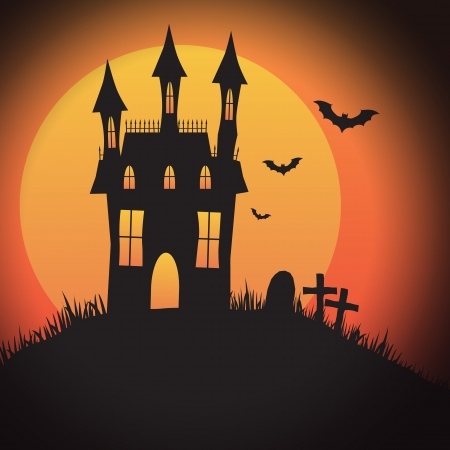 gravestone: A Halloween spooky house design with copyspace - perfect for Halloween party invitations, backgrounds or icons with or without text. Illustration