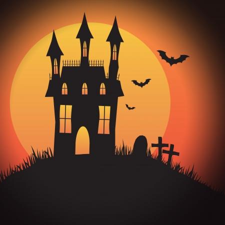 Un disegno di Halloween casa spooky con copyspace - perfetto per Halloween inviti, sfondi o icone con o senza testo. Vettoriali