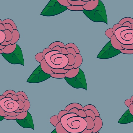 Seamless background tile with dusty pink roses in a hand drawn style.