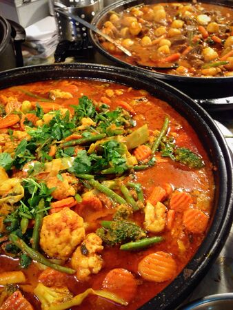 Indian Meat and Vegetarian Curries at a Food Festival