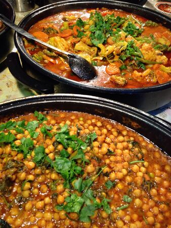 Vegetarian Indian Curries at a Food Festival