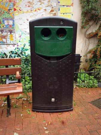 Humourous Smiling Recycling Bin Stock Photo