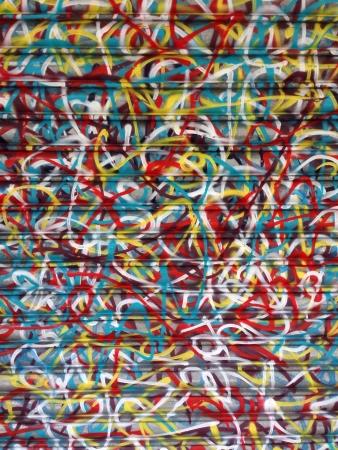 Bright Abstract Graffiti Art on a Shop Shutter