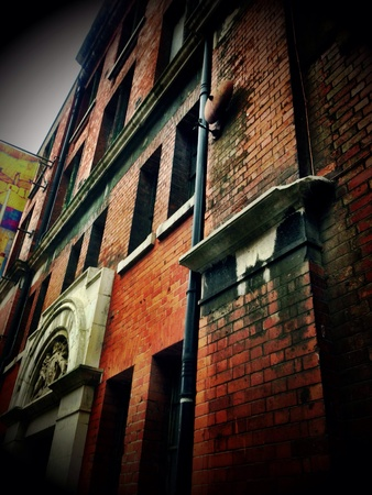 An Old Abandoned Red Brick Building in Londons South Bank Stock Photo