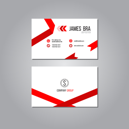 business card: Ribbon Business Card Template Illustration