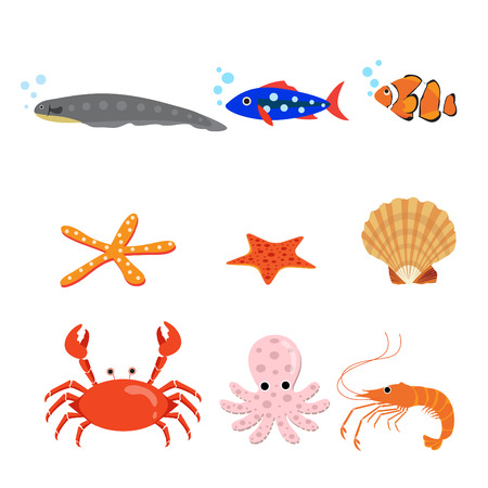 Collection of types of animal, vector illustration. Çizim