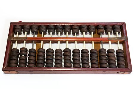Vintage wooden Chinese abacus isolated on white background Stockfoto
