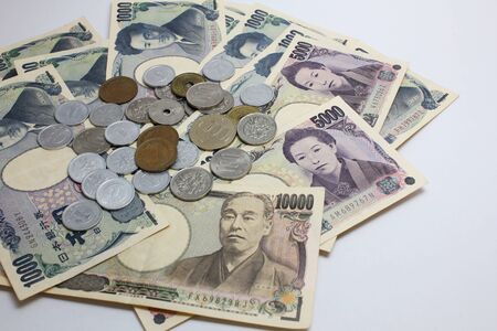 Japanese currency yen banknotes and coins concept for background