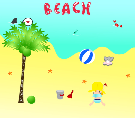 swimming suit: Little girl in cute swimming suit is playing on the beach. There are some beach stuff around her. Illustration