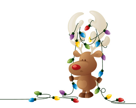 Rudolph in a bit of a fix! Stock Illustratie
