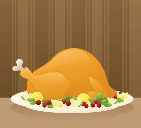 roast turkey: Juicy turkey ready for carving. Illustration
