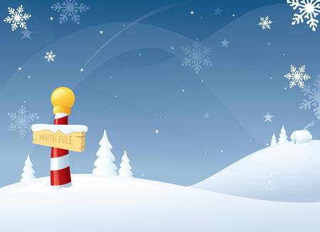 north pole: Snowy North Pole. Illustration