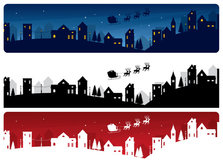 Santas sleigh and little town banners. Vector