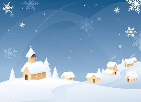 Snowy little village scene. Vector