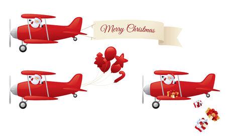 Santa in biplane.