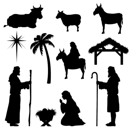 Nativity scene icons. Very easy to change colour. Vectores