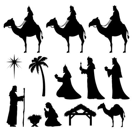 reyes magos: Natividad y Wise Men iconos. Muy f�cil de cambiar de color.