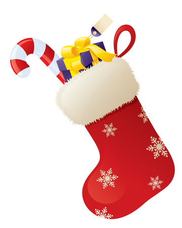 Stocking with gift and candy cane.