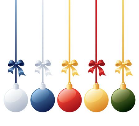 ribbons and bows: Individually grouped baubles in different colour schemes - mix and match ribbons and bows