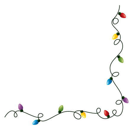 Curly kerstverlichting frame. Stock Illustratie