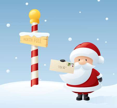Santa at the North Pole with the first of many Christmas present request letters. Vector