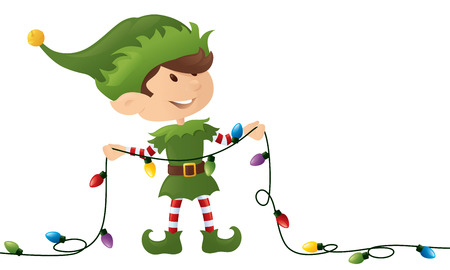 Little elf holding a string of Christmas lights.
