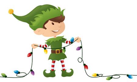 Piccolo elfo in possesso di una serie di luci di Natale. Archivio Fotografico - 32409555